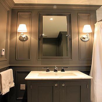 Gray Bathroom, Contemporary, bathroom, Benjamin Moore Asphalt, Ronces Reno Diary