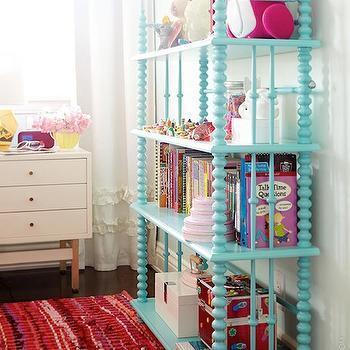 Kids Light Blue Spindle Bookcase The Land Of Nod
