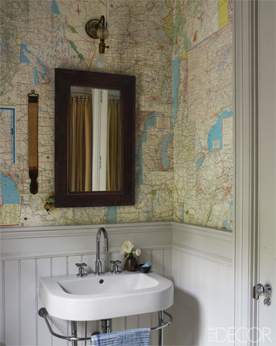 Fun powder room with wainscoting painted Farrow and Ball Cornforth White. Tongue And Groove Wainscoting Design Ideas