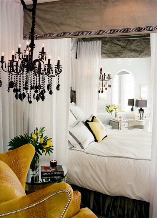 yellow and gray bedroom - Yellow Canopy Interior