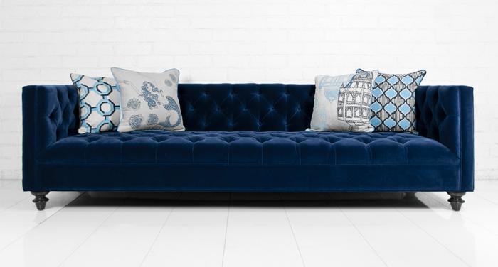 007 Sofa In Navy Velvet I Roomservicestore