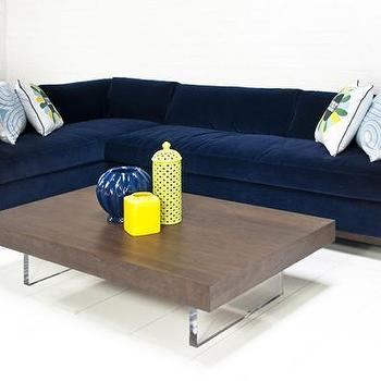 Custom Monte Carlo Sectional In Navy Velvet I Roomservicestore