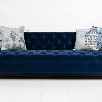 Navy blue velvet tufted bottom sofa for Navy blue tufted sectional sofa