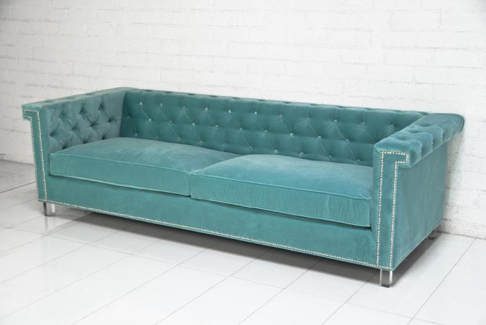 sinatra sofa in aqua velvet i