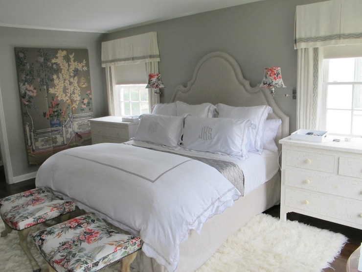 gray headboard with matching pleated bed skirt  transitional, Headboard designs