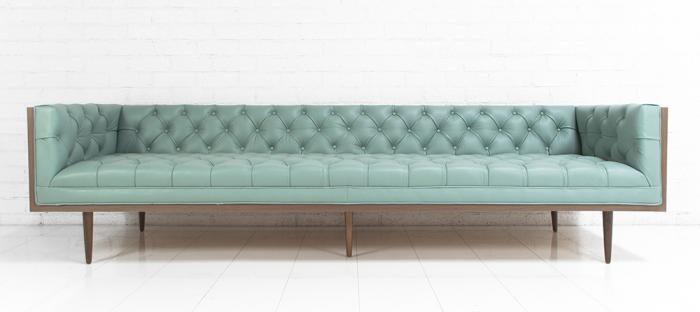 Neutra Sofa In Pale Blue Leather I Roomservicestore