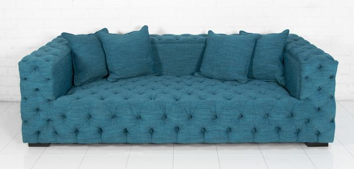 Winifred Turquoise Button Tufted Sofa