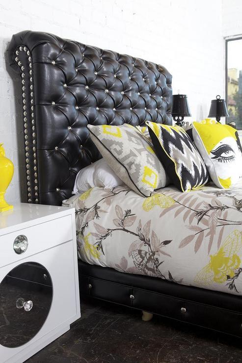 black tufted leather nailhead sofa