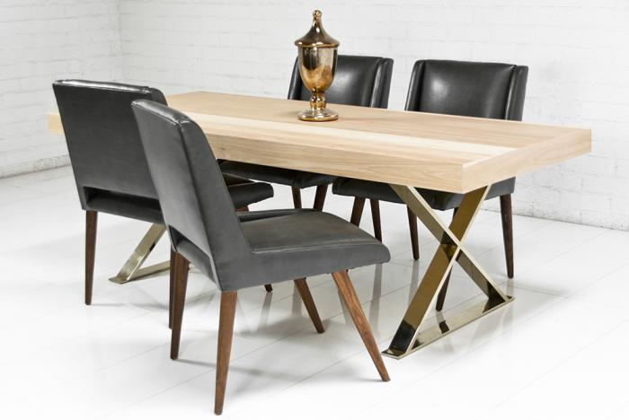 Gold X Leg Hickory Dining Table I Roomservicestore