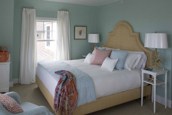Blue Grasscloth Cottage Bedroom Jonathan Adler