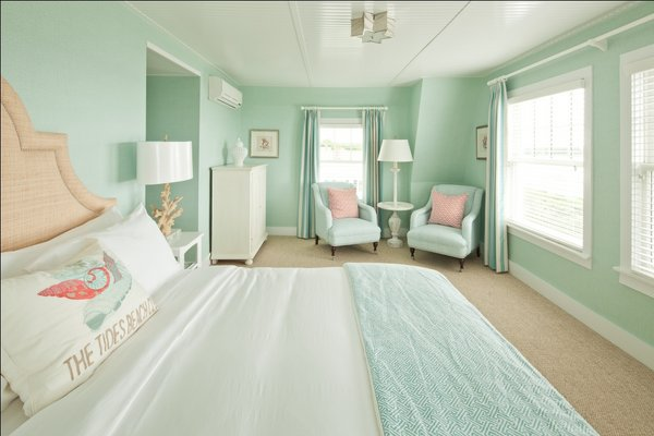 Tides Beach Club Contemporary Cottage Style Bedroom Features Seafoam Green Grasscloth With Matching Curtains And Visual Comfort Lighting Sophia Flush