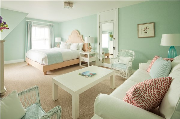 Tides Beach Club Contemporary Cottage Bedroom Features Seafoam Green Grasscloth Wallpaper With Matching Curtains And Visual Comfort Lighting Sophia Flush