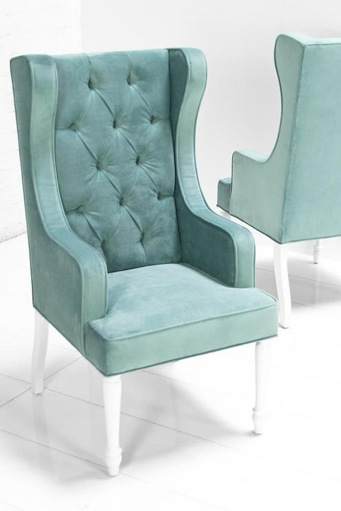 St Tropez Dining Wing Chair In Aqua Velvet I Roomservicestore