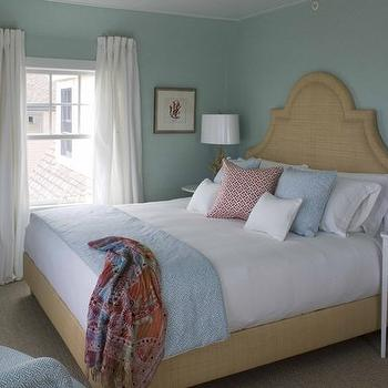 Blue Grasscloth, Cottage, bedroom, Jonathan Adler