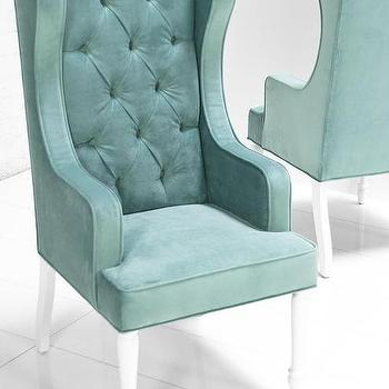 St. Tropez Dining Wing Chair in Aqua Velvet I roomservicestore