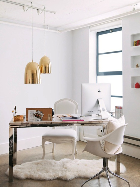 amazing office with pair of dwell studio brass dome pendants large over petrified wood top desk with acrylic desk organizer and brass pencil holder set