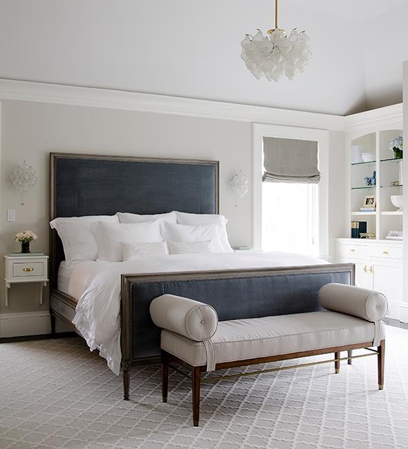 Blue And Gray Bedroom Design With Light Gray Walls Framing Blue Velvet  Headboard Flanked By Art Deco Sconces Over White Wall Mounted Nightstands  With Brass ...