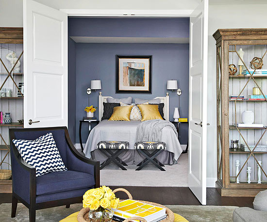 Yellow and Blue Bedroom - Contemporary - bedroom - BHG