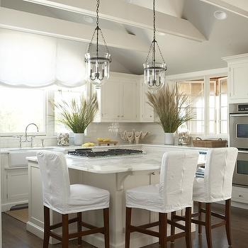 Slipcovered Bar Stools, Cottage, kitchen, New England Home