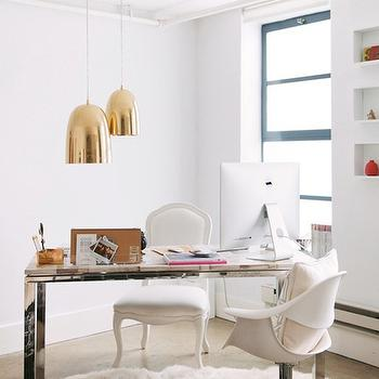 Petrified Wood Desk, Contemporary, den/library/office, Benjamin Moore 01 White, Apartment 34