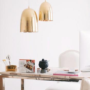 Dwell Studio Brass Dome Pendant, Contemporary, den/library/office, Benjamin Moore 01 White, Apartment 34