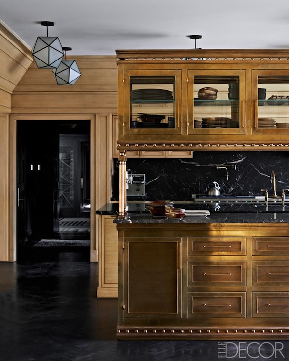 Cerused Oak Kitchen Cabinets Gorgeous Cerused Oak Kitchen: Brass Kitchen Island