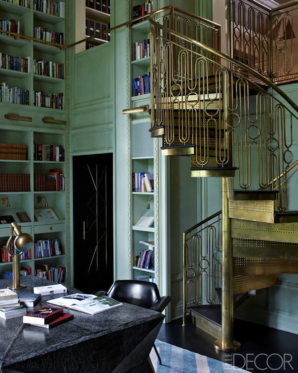 Brass spiral staircase eclectic den library office for Vintage art deco interior design