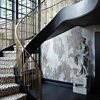 Brass Staircase, Eclectic, entrance/foyer, Elle Decor