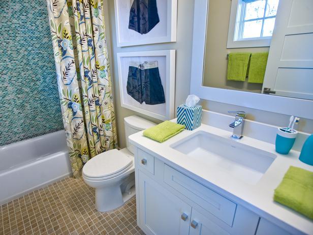 Turquoise tile shower contemporary bathroom sherwin for Kids bathroom ideas boys