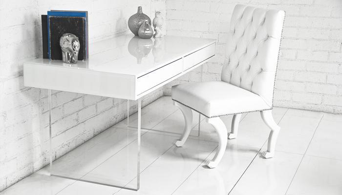 London White Starfire Glass Desk I roomservicestore