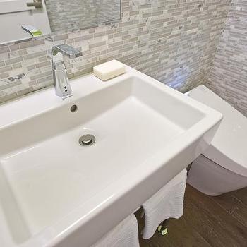 White Glass Tile Backsplash, Contemporary, bathroom, HGTV