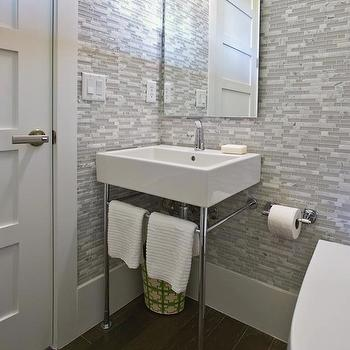 White and Gray Glass Tile, Contemporary, bathroom, HGTV