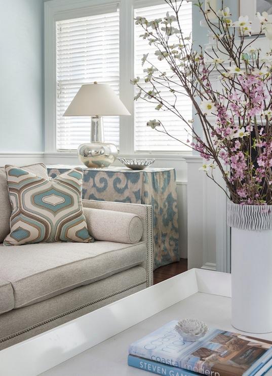 Beige Sofa With Nailhead Trim Living Room Farrow Ball