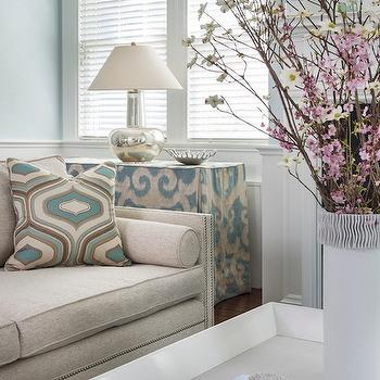 Beige Sofa with Nailhead Trim, living room, Farrow & Ball Borrowed Light, Digs Design Company