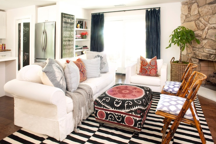 Black And White Striped Rug Transitional Living Room Amber Interiors