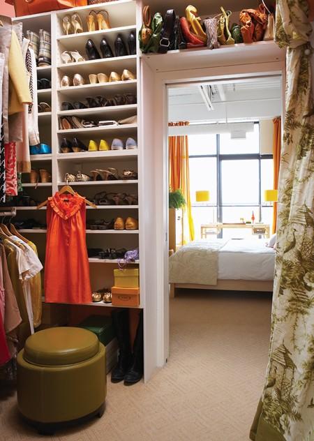 built in shoe shelves contemporary closet house home. Black Bedroom Furniture Sets. Home Design Ideas