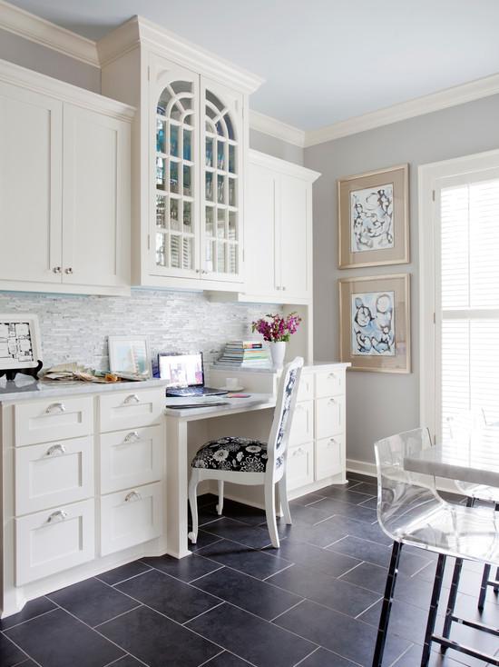 Kitchen built in desk transitional kitchen sherwin for Built in kitchen desks ideas