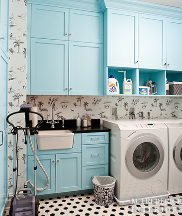 Amazing Tiffany Blue Laundry Room With Cabinets Paired Polished Black Countertops And Wallpapered Backsplash