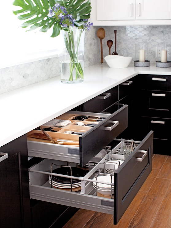 Ikea Kitchen With Two Tone Cabinets: White Upper Ikea Ramsjo Cabinets  Paired And Lower Black Brown Ikea Ramsjo Cabinets Accented With IKea Tyda  Handles ...