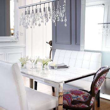 White Tufted Dining Bench, Contemporary, dining room, Chatelaine