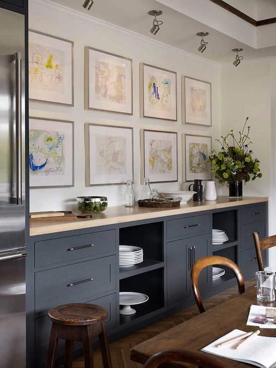 Gray kitchen cabinets with cream countertops design ideas for Cream and grey kitchen