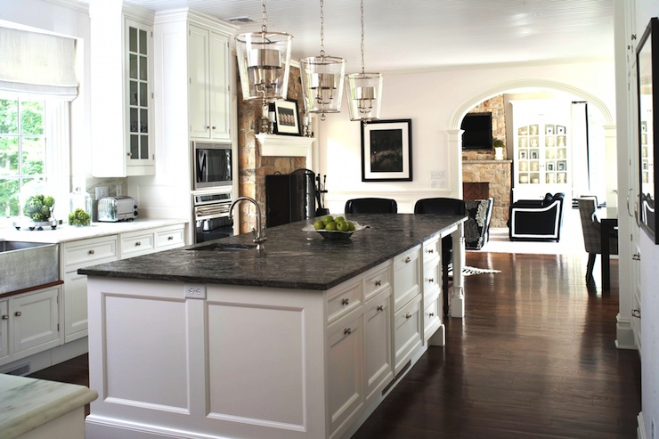 Soapstone countertops transitional kitchen m frederick - Black granite countertops with cream cabinets ...