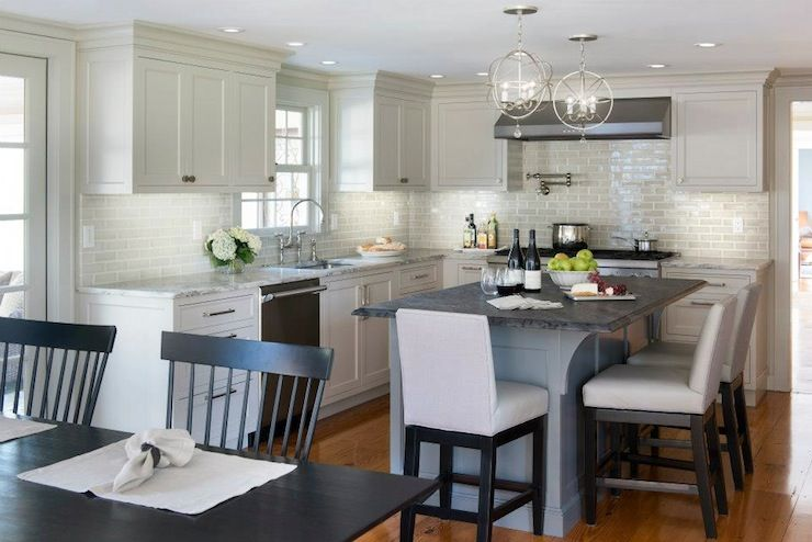 Light Gray Kitchen Cabinets Transitional Kitchen Benjamin Moore Revere Pewter Pinney Designs