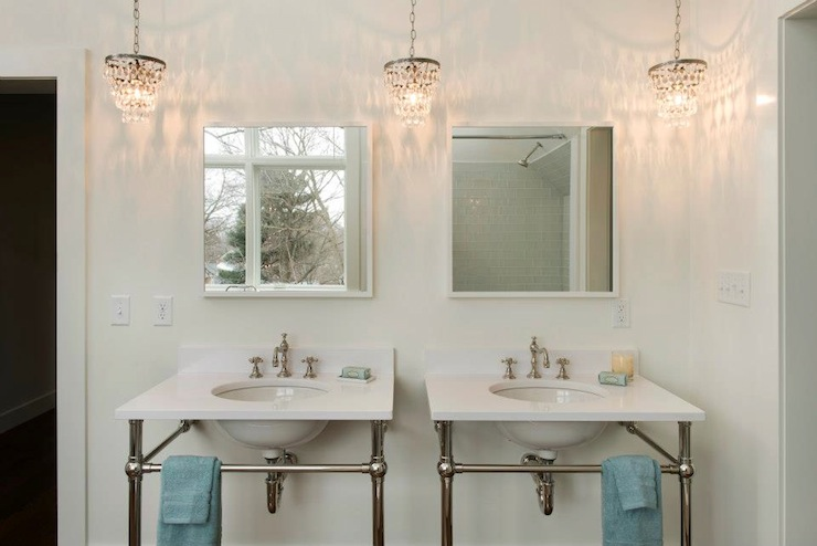Crystal drops chandelier cottage bathroom pinney designs - Small crystal chandelier for bathroom ...