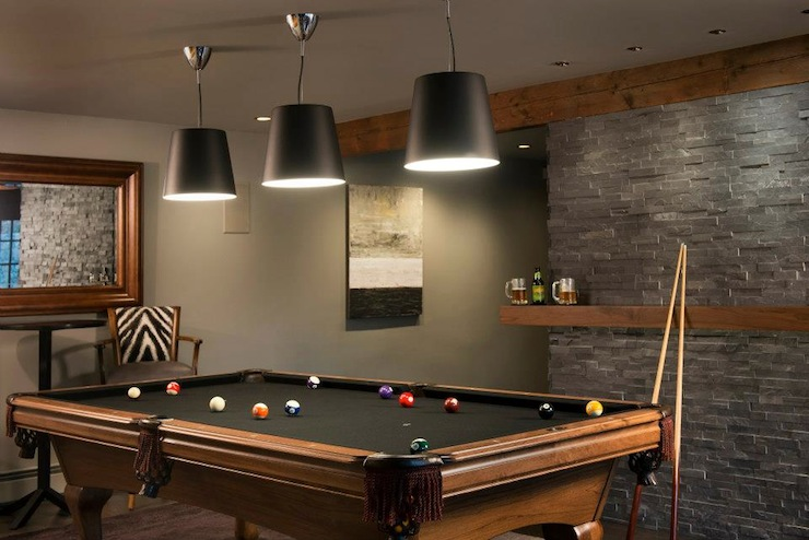 Pool table lighting design decor photos pictures Basement game room ideas