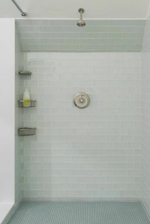 Blue Glass Tile Shower Surround Contemporary Bathroom Pinney