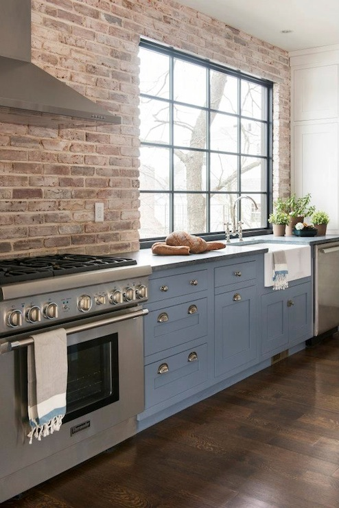 Exposed brick wall contemporary kitchen pinney designs for Kitchen bricks design