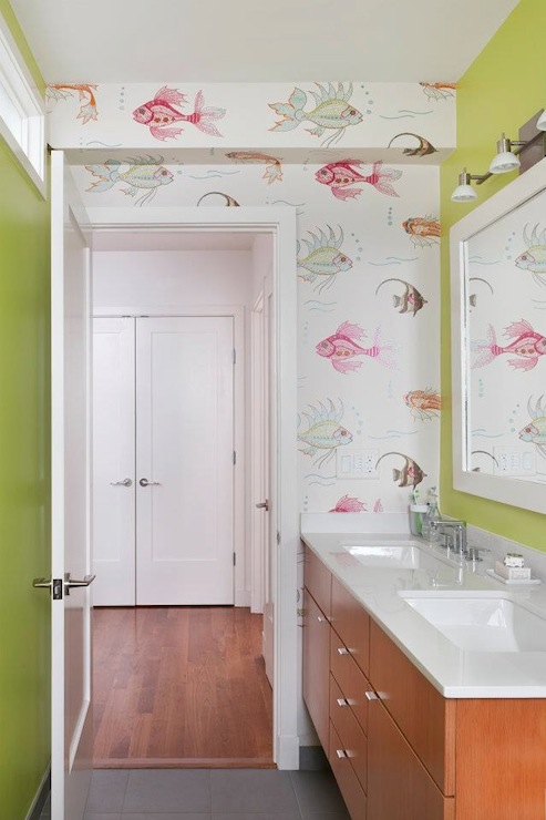 Nina Campbell Aquarium Wallpaper Contemporary Bathroom