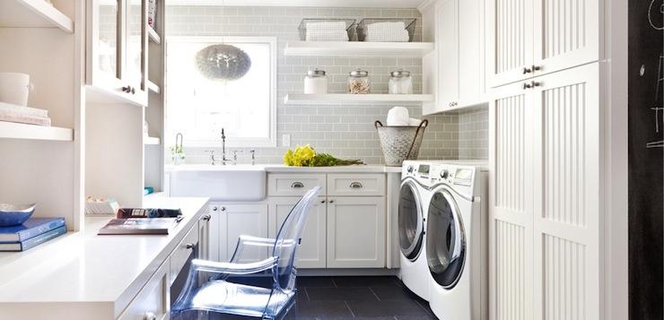 Amazing White And Gray Laundry Room With Beadboard Cabinets Paired Quartz Countertops Light Subway Tile Backsplash