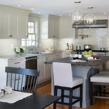 Light Gray Kitchen Cabinets, Transitional, kitchen, Benjamin Moore Revere Pewter, Pinney Designs